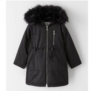 Snap Button Faux Fur Trim Parka Size 10 NWT